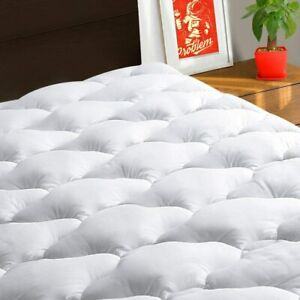 Quilted Fitted Mattress Pad Cover Pillowtop Overfilled Deep Pocket Bed Topper Qu