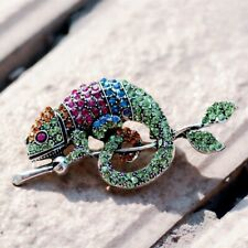 Fashion Vintage Rhinestone Chameleon Animal Brooch Party Pins Women Jewelry Gift
