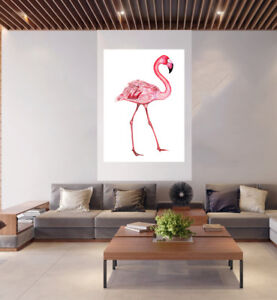 "pink flamingo bird Vintage art  Poster Print painting Glass Frame 36"""