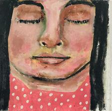 Mini Art Little Girl Portrait Painting Only a Dream By Katie Jeanne Wood