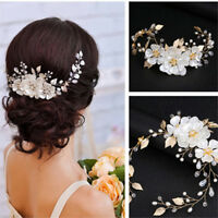 Women bridal white flower rhinestone pearl hair clip wedding hair accessories