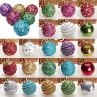 Christmas Rhinestone Glitter Baubles Balls Xmas Tree Ornament Decoration 8CM UK