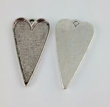 10Pcs Tibetan Silver Heart Pendant Setting Blanks 42x26mm