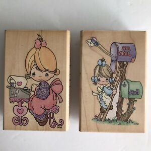 Precious Moments Rubber Stamps Stampendous 1998 Air Mail Letters Typewriter EUC