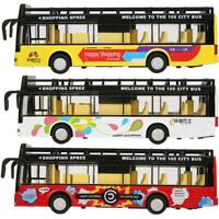 1/50 Scale Open-Top Lighting Sightseeing Double-Decker Pull Bus Model Toy Gift