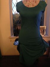 MANGO STRETCH TURQUOISE/GREEN S MED ZIP SIDE DRESS EXC COND LOOKS GREAT ON