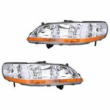 Fits 1998-2000 Honda Accord Driver + Passenger Headlight Lamp Assembly 1 Pair