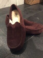 Uggs New Mens Suede Alder Moccasin Slippers Size 9 Chocolate