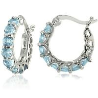 "JTS 925 0.85""Silver Small Hoop Earrings - Princess Cut Blue Topaz Stones"