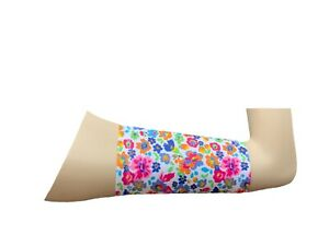 PICC line cover Freestyle libre sleeve Lycra armband diabetes chemo white peony