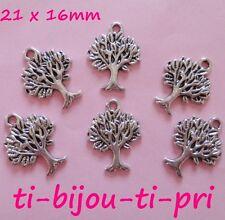 LOT de 8 PENDENTIFS perles BRELOQUES ARGENTE ARBRE DE VIE 21 x1 6mm TREE bijoux
