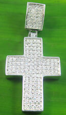 REAL925Sterling Silver THICK HEAVY 4 row microsetting cz cross PENDANT unisex