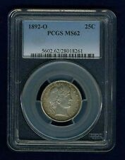 1892-O  BARBER/LIBERTY HEAD QUARTER/25 CENTS, UNCIRCULATED CERTIFIED PCGS-MS62