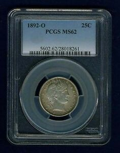1892-O  BARBER/LIBERTY HEAD QUARTER/25 CENTS, UNCIRCULATED PCGS CERTIFIED MS62
