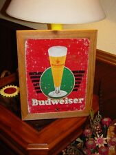 BUDWEISER VINTAGE BEER CUSTOM MAN CAVE CEDAR FRAMED RETRO METAL BAR SIGN