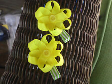 Hair Bows a pair of Yellow Flowers with a button center Hair Bows USA