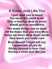 Fridge Magnet  Personalised  Sister  Poem Pink Silk + FREE GIFT BOX