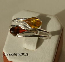 Cognac and Lemon Baltic Amber Ring with Silver 925