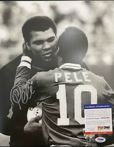 Pele Signed 11x14 Photo PSA DNA Authenticated Soccer Brazil Muhammad Ali
