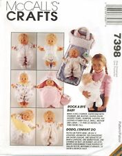 McCalls 7398 Rock A Bye Baby DOLL Clothes Carrier Bag sewing pattern UNCUT VTG