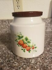 House of Webster Rogers, AR Speckle Tan Ceramic Strawberry Biscuit Jar Canister