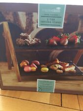 Classy Elegant ,  2 Tier Slate Wooden Food Serving Stand Home Easy Storage