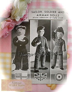 Vintage 1940s Toy Knitting Pattern Instructions, Sailor, Soldier & Airman Dolls