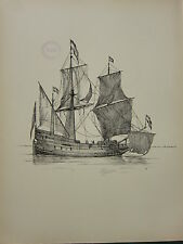 1936 SAILING SHIP PRINT ~ A DUTCH FLUTE (1650)