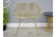 Steel Metallic Chair | Gold Finish | Wide Low Back