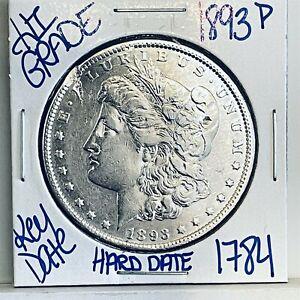 1893 MORGAN SILVER DOLLAR COIN #1784 FREE SHIPPING RARE KEY DATE HIGH GRADE