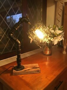 Vintage Industrial Steampunk Rustic Style Iron Metal Pipe Desk Table Lamp E27
