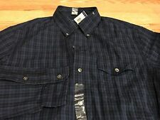 Polo Ralph Lauren black navy blue plaid cotton shirt slim fit pocket M $145 RL