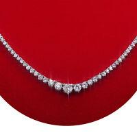 7.00 Carat Natural Not Enhanced Cocktail Diamond Tennis Necklace 14K White Gold