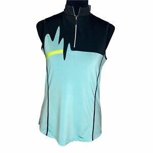 Jamie Sadock Womens Light Blue / Black Sleeveless 1/2 Zip Golf Polo sz S