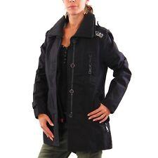 Superdry pour femmes été manteau trench manteau Jermyn Rue noir taille M