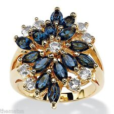 MARQUISE SAPPHIRE BLUE AND WHITE CRYSTAL CLUSTER 18K GOLD  RING SIZE 6 7 8 9 10