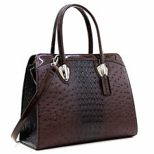 New Womens Handbag Ostrich Leather Briefcase Satchel Tote Bag Shoulder Bag Purse