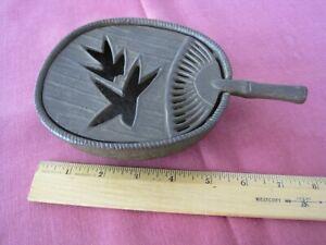 Vintage CAST IRON JAPANESE INCENSE BURNER-Leaf Design-Made in Japan