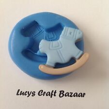 Silicone Mould New Baby Shower Rocking Horse Sugarpaste Cupcake Pop Topper Icing