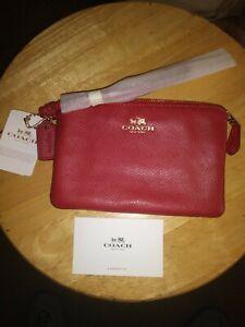 Coach USA Rose Purse Wallet Wristlet  Burgundy Zipper & Strap COACH New York NWT