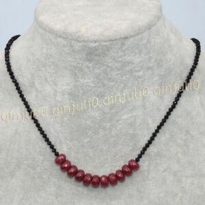 Faceted 3mm Black Spinel & 5x8mm Dark Ruby Rondelle Gemstone Beads Necklace 18''