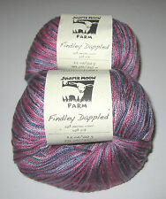 2 Balls of Pink and Purple Juniper Moon Findley Dappled Lace Knitting Yarn #117
