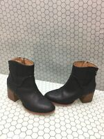 UGG Australia ANNIE Black Leather Side Zip Block Heel Ankle Boots Women's Size 7