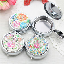 Flower Pattern Mini Portable Pocket Stainless Steel Round Cigarette Ashtray