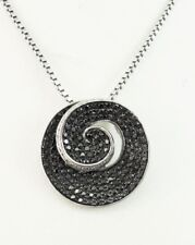 "Black & White Diamond Necklace, 14kt White Gold, Pendant, 1.35 Carats, 18"" Chain"