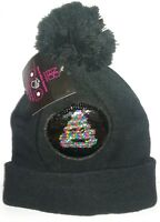 Reversible Sequins No Boundaries Cap Knit Warm Winter Hat Black Cute Smile Frown