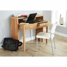 REGIS EXTENDING CONSOLE TABLE STUDY TABLE COMPUTER DESK W/ RETRACTABLE SHELF OAK
