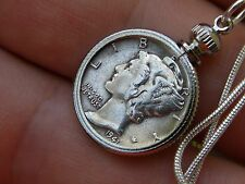 Necklace Pendant Vintage silver Mercury dime coin various dates chains 18 inch