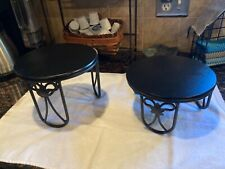Longaberger Wrought Iron Stands w/ Wood Tops (set of 2)