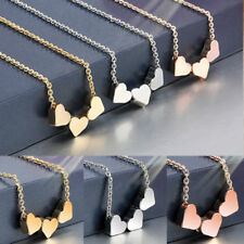 Fashion Jewelry Women Stainless Three Heart Charms Necklace Pendant Rose Gold